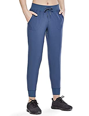 CRZ YOGA Women's Lightweight Joggers Pants with Pockets Drawstring Workout Running Pants with Elastic Waist Slate Blue Medium