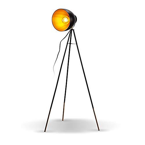 B.K.Licht I Stehlampe Vintage I Stehleuchte Retro I Metall I Schwarz-Gold I E27 Fassung max. 40W I Fußschalter I Ø24cm Lampenschirm I Design Studiolampe I ohne Leuchtmittel