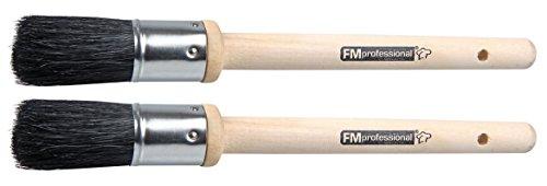 FMprofessional 23cm 2 Aschenbecherpinsel, helles Holz, glänzend, schwarz, ca. 22cm, 2-Einheiten