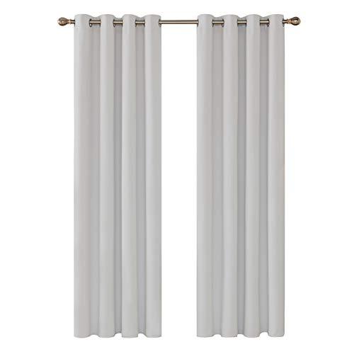 Deconovo Cortina Opaca Decoración Ventana Accesorios para Habitación Estilo Moderno Elegante con Ojales 2 Piezas 140 x 260 cm Gris Blanco