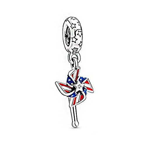Pandora 925 colgantes de plata esterlina Diy amuleto de molino de viento americano apto para pulseras originales segundo nuevo aniversario