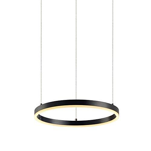 s.LUCE Ring S LED-Hängeleuchte Dimmbar Ø 40cm Schwarz LED-Ringleuchte LED-Ringlampe LED-Hängelampe Ring-Pendelleuchte