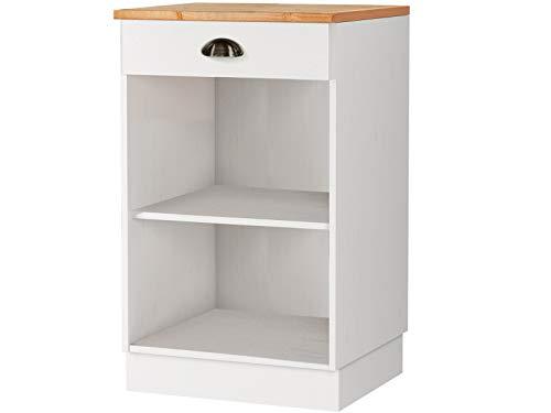 Loft24 Unterschrank weiß Honig Küche Küchenschrank Küchenunterschrank Landhaus Kiefer massiv 1 Schublade
