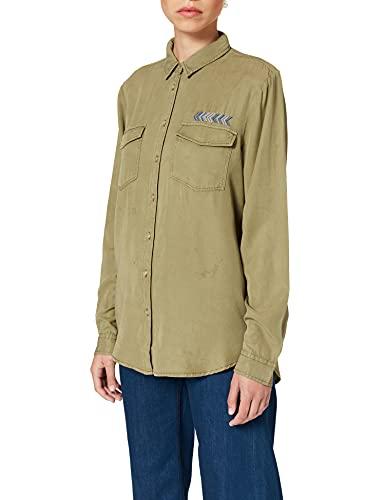 Springfield Blusa Militar Tencel Camisa, Verde, 38 para Mujer