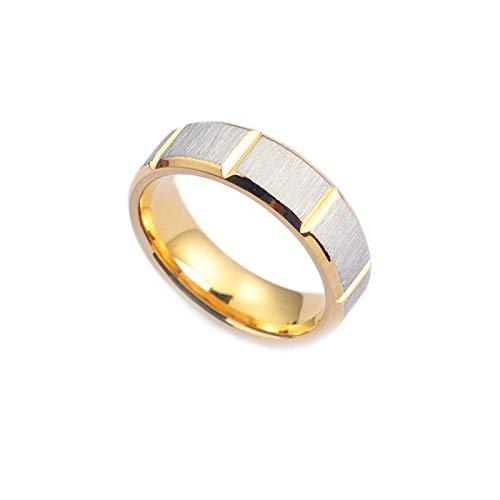 Bishilin Titan Ring Herren Vintage Matt Rund 6 MM Partnerring Ring Gold für Beste Freunde Gr.54 (17.2)
