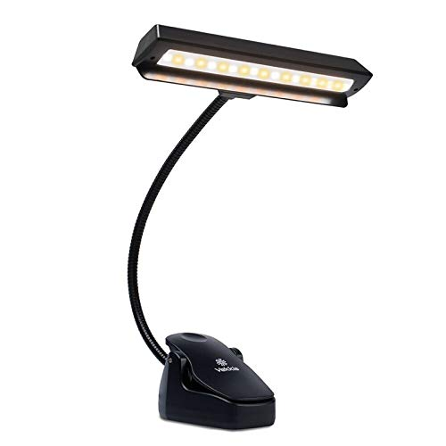 Professional Musician 3000K-6000K Super Bright 19 LED Music Stand Light, Clip On Orchestra Piano Lights, 9 Levels Dimmable Rechargeable. Perfect for Piano, Orchestra, Craft. USB Cord Incl.
