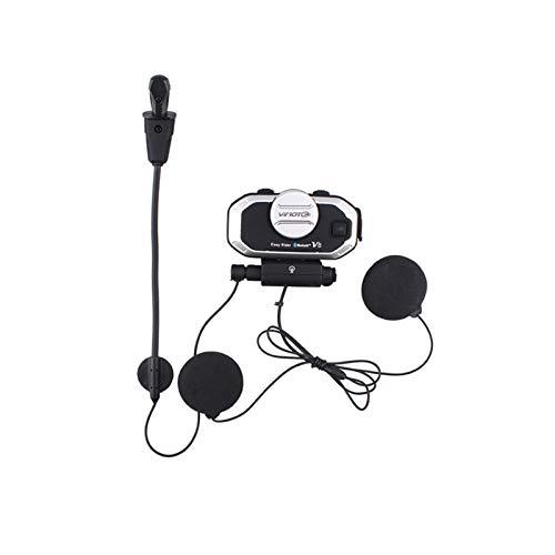 Auriculares estéreo de la Motocicleta Bluetooth del Casco V8 850mAh para teléfonos móviles y Radio GPS Radios (Color : A)