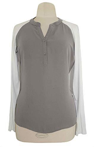Tchibo TCM Blusenshirt Bluse Shirt Georgette Hellgrau-weiß (36/38 S)