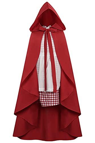 Lofeery Disfraz infantil de Caperucita Roja, disfraz infantil de cuento de hadas, Halloween, carnaval, para niñas, con capa