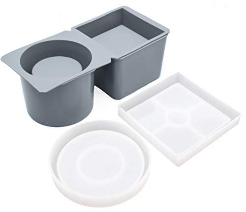 Silikonformen für Beton, Sukkulenten, Töpfe und Tablett, quadratisch, runde Form