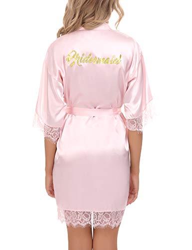 Aibrou Kimono Mujer Bata Novia, Albornoz Mujer Bata Kimono Ideal para Boda & Fiesta