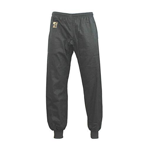 S.B.J - Sportland Baumwollhose/Kampfsporthose/Judohose/Karatehose/Wushu Hose schwarz mit Bündchen, 170 cm
