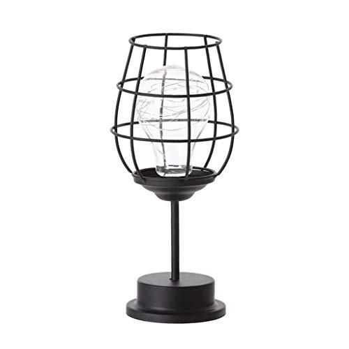 Non-brand Lámpara de Mesa de Metal, Botella de Vino Hueca, Copa de Vino, Bombilla Edison Bombilla de Alambre de Cobre lámpara de Noche con Pilas para Dormitorio - 28x13x13x13 CM