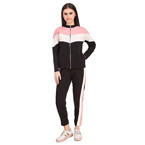 L.F Women's Scuba Crepe Tracksuit (Zipper-Tracksuits_M_Black, Pink & White_Medium)