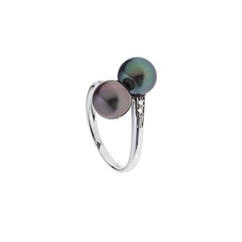 Ring 2 Tahiti-Perlen, Diamanten und Weissgold 375/1000 - Blue Pearls - 50 BPS K401 W