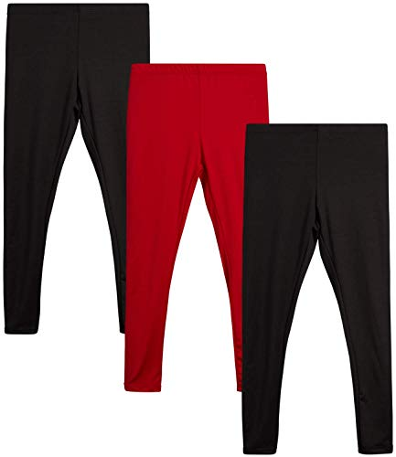 Sweet Hearts Girls' Athletic Leggings - Active Performance Yoga Pants (3 Pack), Size 10/12, Black/Red