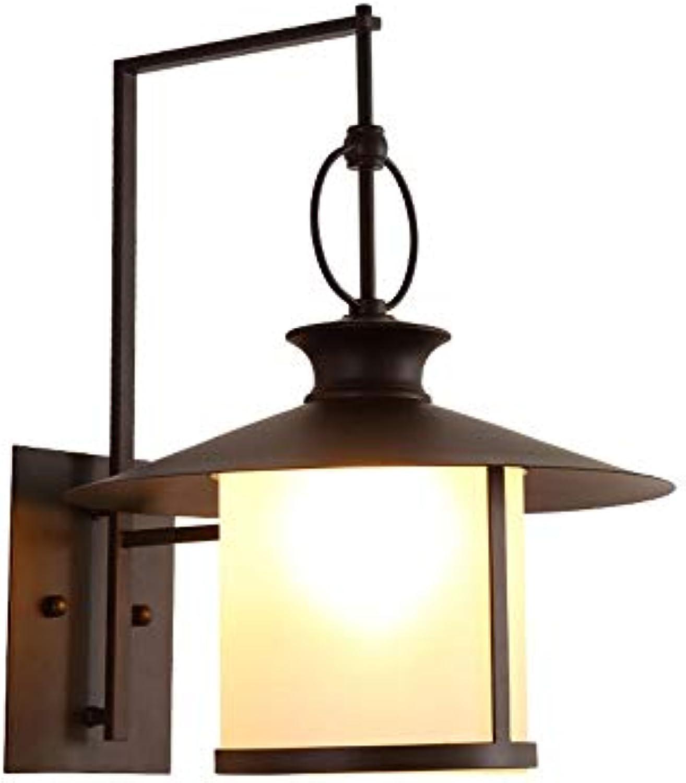 Auenwand-Terrassenbeleuchtungsgang der einfachen Retro amerikanischen Auenwandlampe wasserdichter Gartenlicht-Auenbalkon TZZ (Farbe   Schwarz)