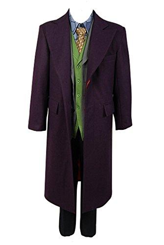 Enhopty Offiziersbursche Batmann Dark Knight Heath Ledger Joker 6 pcs Set * Wool Trench Coat Windmantel Cosplay Kostüm Herren XXL