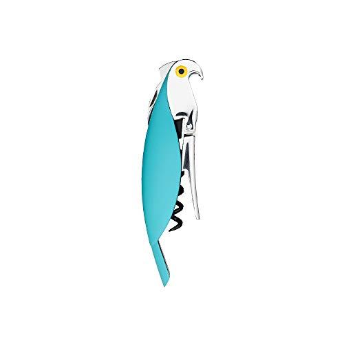 Alessi AAM32 AZ Parrot Cavatappiper Vino di Design, in Alluminio Pressofuso e PC, Azzurro