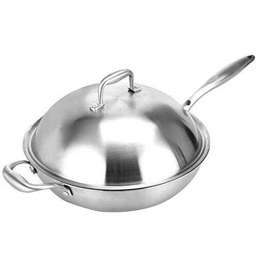 YUTRD ZCJUX Wok - Wok Stir Fry Pan con temperato Coperchio in Acciaio Inossidabile, approfondendo Oil-Free Smoke Pan induzione Cucina Cucina a Gas Utensili da Cucina