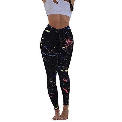 WOZOW Legging Pantalon Yoga Femme, Imprimé Multicolore Hanche Sport Fille Pantalons Jogging Fitness Exercice Taille Haute Stretch Elastique Confortable Respirabilité(Noir,XL)