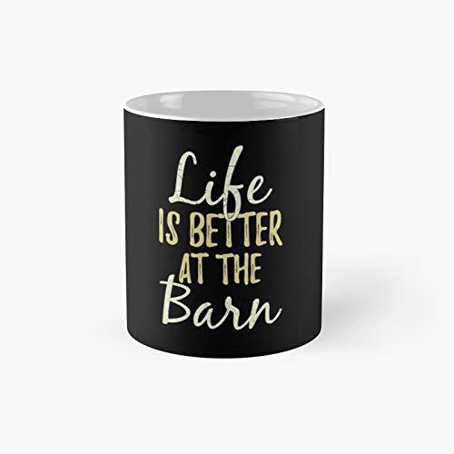 Taza clásica Life is Better at The Farm Best Gift Funny Coffee Tazas de café 11 oz
