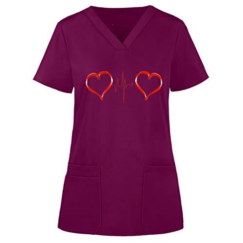 Sllowwa Arbeitskleidung & Uniformen Frauen Kurzarm V-Ausschnitt Tops Working Uniform Einfarbige Taschenbluse Krankenschwester Krankenhaus Kleidung S-3XL (Wein,L)