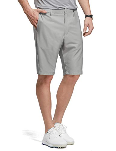 BALEAF 10' Golf Stretch Shorts for Men Flat Front Active Waistband Quick Dry Lightweight Casual Shorts with Zipper Pocket Gray Size 34