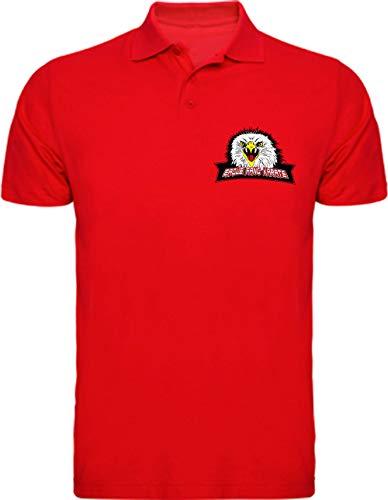 Camisetas EGB Polo Colmillo De Águila Eagle Fang Karate Kid ochenteras 80´s Retro (Rojo, L)