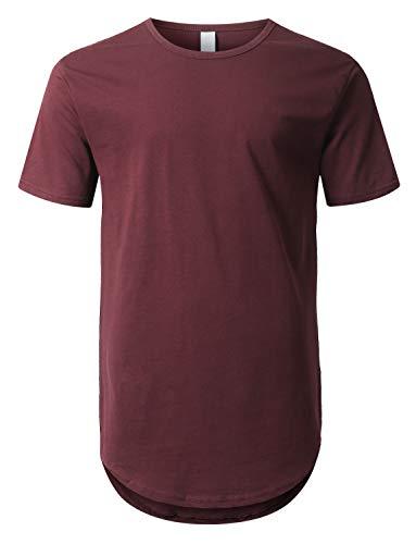 URBANCREWS Mens Hipster Hip Hop Basic Drop Tail Longline T-Shirt Wine, XL