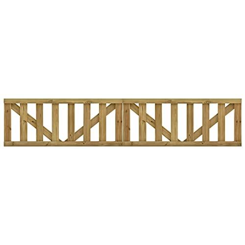 Puerta de jardín, puerta abatible de madera Puerta de valla exterior Puerta de entrada Barrera de seguridad Puertas de listones de jardín 2 piezas Madera de pino impregnada 150x60 cm