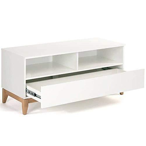 Meuble TV Blanco, 120 x 48 x 55 cm, en chêne et Bois Peint Blanc Mat, 1 Grand tiroir, 2 niches - 120 x 48 x 55 cm (Largeur x Profondeur x Hauteur)
