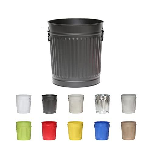Jinfa | Cubo de basura de metal con asas | Contenedor vintage para interiores, reciclaje | Sin tapa | Negro | Tamaño: L | 36 cm de diámetro, 36,5 cm de altura | Volumen: 35 Litros