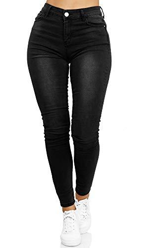 Elara Damen Stretch Hose Gummizug Jeans Push Up Chunkyrayan YA 335 Schwarz-38 (M)