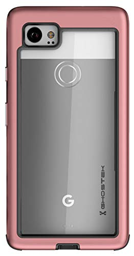 Ghostek Atomic Slim Clear Pixel 2 XL Case with Space Metal Bumper Super Heavy Duty Protection Shockproof Military Grade Aluminum Wireless Charging Compatible 2017 Google Pixel 2 XL (6 Inch) - (Pink)