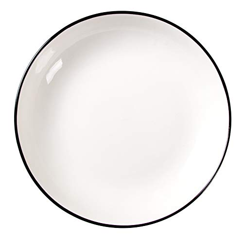 YLMF Plato Grande Engrosado Retro de 8 Pulgadas, Plato Plano de cerámica para el hogar, Duradero, fácil de Limpiar y almacenar, Apto para lavavajillas y microondas Resistente a Altas temperaturas, j