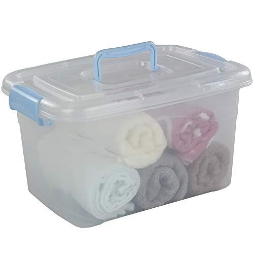 Utiao 12 Quart Plastic Storage Bin with Handles Clear Latching Box 1 Pack