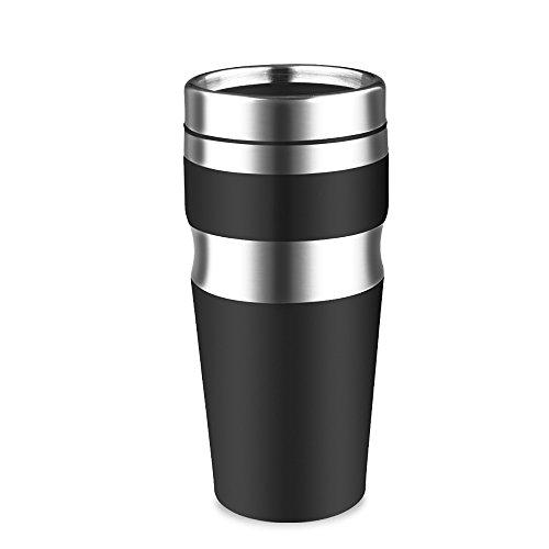 Bouteille de voyage en acier inoxydable double de 430 ml,mug réutilisable,coupe de voiture,coupe de voyage,coupe de couples(noir,blanc) , 430ml