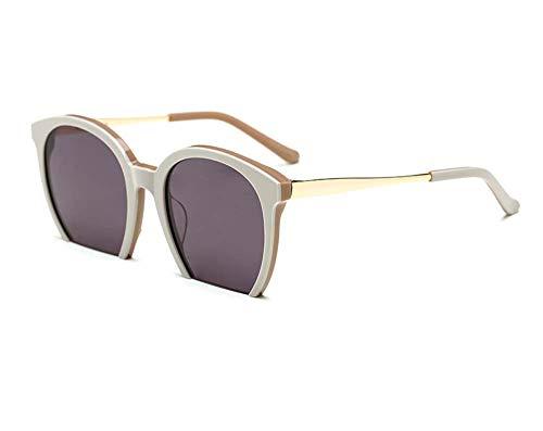 JXS Occhiali da Sole da Esterno e da Donna Rotonda semitelaio Occhiali da Sole-Leggera Montatura Metallo Cerniera-UV 400 Protection Eye-Uomo,Beige