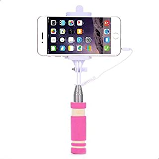 DOWIN Mini Wired Selfie Stick Monopod for Smartphones- PINK