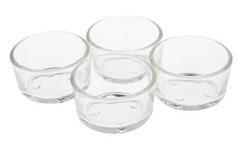 VBS 4er-Set Teelicht-Gläser klar Glas Weiß Teelichthalter Glasschälchen spülmaschinenfest