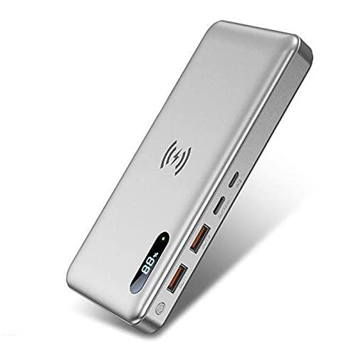Power Bank portátil 50000Mah Wireless Power Bank 15W Carga inalámbrica + Type-C 65W PD Cargador portátil de Carga rápida Paquete de batería Externa QC 4.0 con 4 Salidas y 2 entradas para Tel