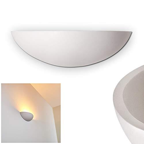 Wandlampe Ovalle aus Keramik in Weiß, Wandleuchte mit Lichteffekt, 1 x E27-Fassung, max. 40 Watt, Innenwandleuchte mit handelsüblichen Farben bemalbar