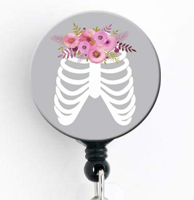 Rib Cage Floral - Retractable Badge Reel with Swivel Clip and Extra-Long 34 inch Cord - Badge Holder X ray / Xray / Radiology / Radiologist / RRT