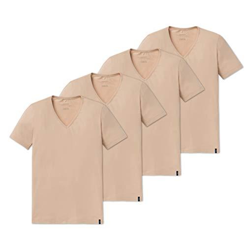 Schiesser 95/5 - T-Shirt mit V-Ausschnitt - 151063-4er Spar-Pack (7 Haut)