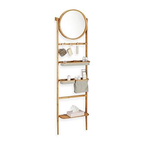 Relaxdays Badregal für Wand, Leiterregal zum Anlehnen, Badablage mit Spiegel, viele Fächer, schmales Holzregal, natur