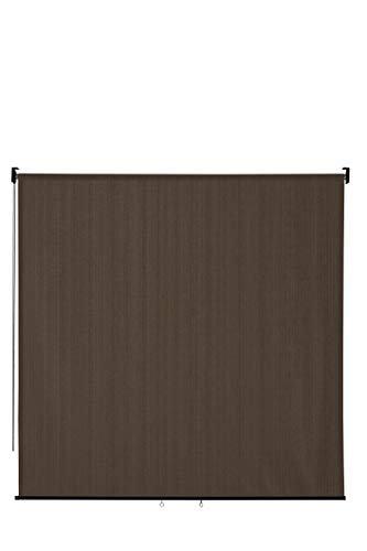 VICLLAX Outdoor Roller Shade, Patio Blinds Roll Up Shade (8' W X 8' L), Mocha