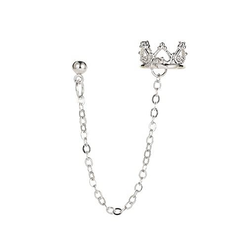 Mountainsea Pendientes de corona hueca, pendientes largos de cadena de borla para mujer, líneas de oreja, niñas (color metálico: 1 plata)