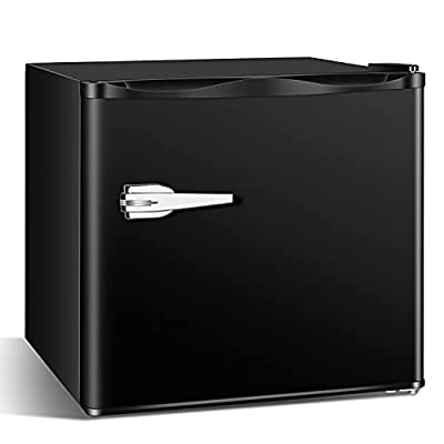 Antarctic Star Compact Chest Upright Freezer Single Door Reversible Stainless Steel Door, Compact Adjustable Removable Shelves for Home Office, 1.2 cu.black……