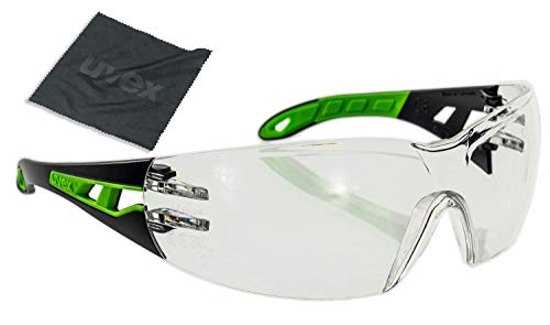 Uvex Pheos Schutzbrille - Anti-Kratz Anti-Beschlag Beschichtung - Schwarz-Grün Ungetönte Gläser - inkl. Brillenputztuch